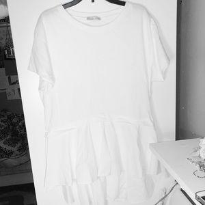 Zara High Low Short Sleeve Top